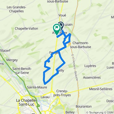 De 40 Voie de la Fontaine, Montsuzain à 48 Rue des Ormelots, Aubeterre
