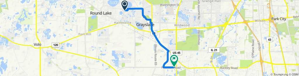 122 E Big Horn Dr, Hainesville to 1800 Industrial Dr, Libertyville