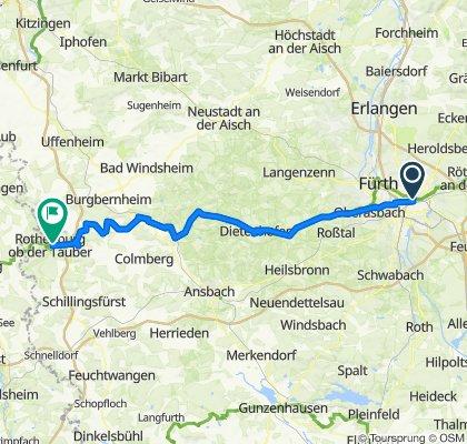 Kaiserstraße 2–8, Nürnberg nach Vorm Würzburger Tor 8A, Rothenburg ob der Tauber