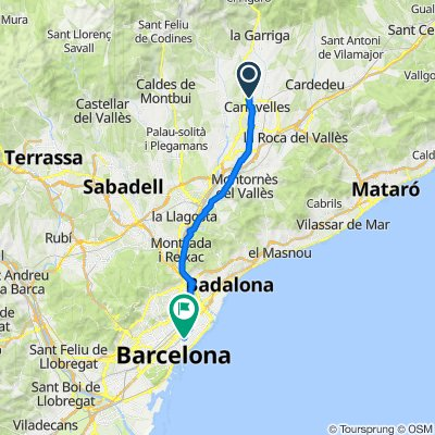 De Calle del Vallès, 17, Canovellas a Calle de Pere IV, 228, Barcelona