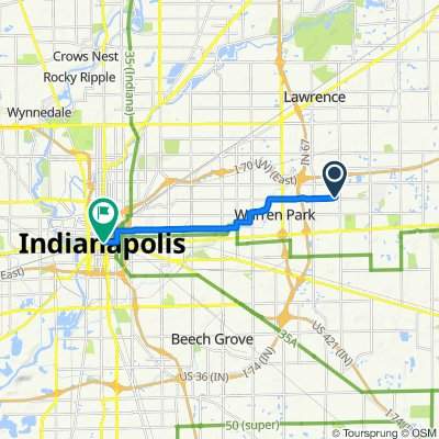 8829 E 16th Pl, Indianapolis to 101 Monument Cir, Indianapolis