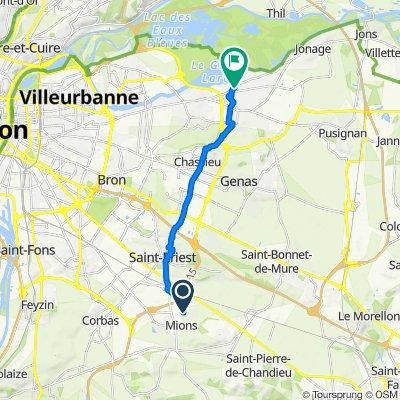 De Route de Saint-Priest 71, Mions à Avenue de Verdun 78, Meyzieu