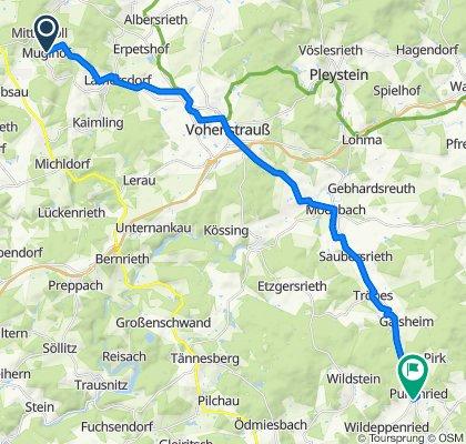 Muglhof 12, Weiden in der Oberpfalz nach Pullenried 54, Oberviechtach