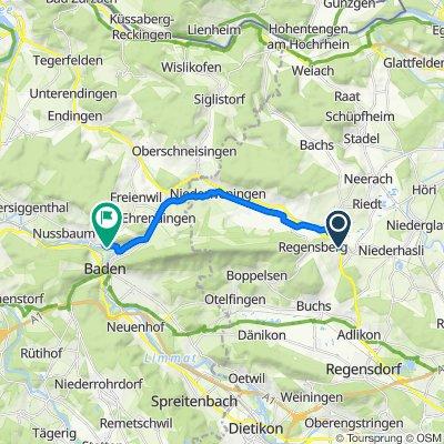 Regensbergstrasse, Dielsdorf nach Landstrasse 1, Nussbaumen bei Baden