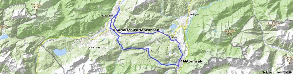 Von Farchant nach Mittenwald und über Schloss Elmau zurück