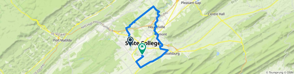 Blue Course Dr, State College to 965 Southgate Dr, State College