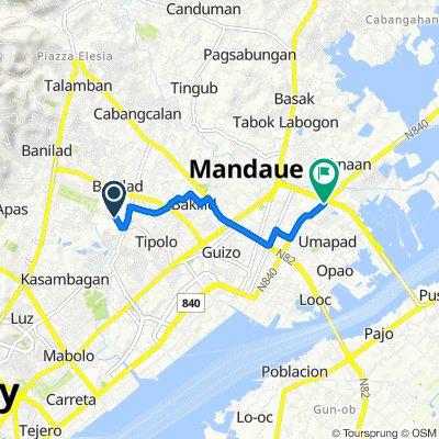 Route to Plaridel Street, Mandaue City