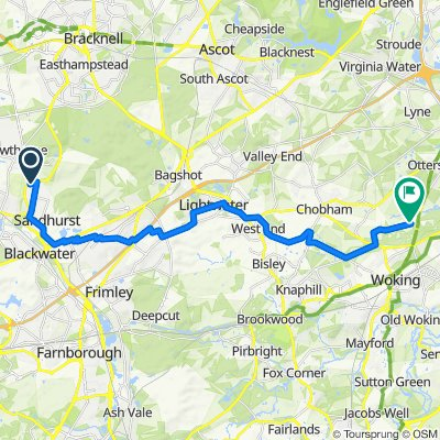 Route from 11 Hexham Close, Sandhurst