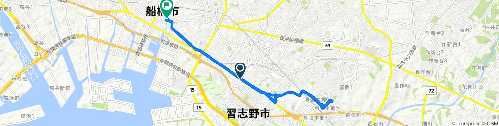 Maronie-dori Street, Narashino-Shi to 32-12, Honcho 4-Chōme, Funabashi-Shi