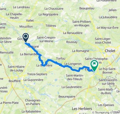 De Clisson à la mairie de Mortagne sur Sèvre par la Vendée Vélo