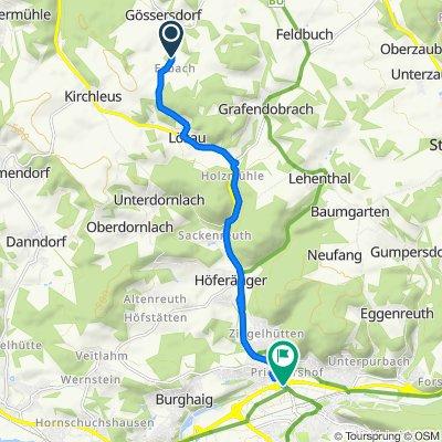 Esbach 1, Kulmbach nach E.-C.-Baumann-Straße 2, Kulmbach