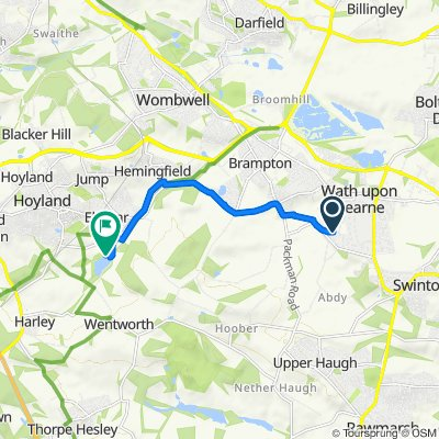 Route from 3–11 Quaker Close, Wath Upon Dearne, Rotherham