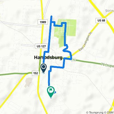 101 Mooreland Ave, Harrodsburg to 635–669 Beaumont Inn Dr, Harrodsburg