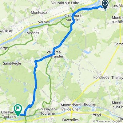De 2–2B Route de Valaire, Candé-sur-Beuvron à Château de Chenonceau, Chenonceaux