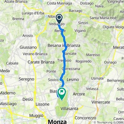 Da Via Indipendenza 5A, Veduggio con Colzano a Curva Parabolica, Monza