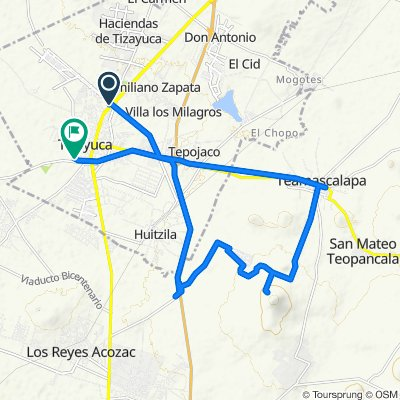 De Avenida Juárez, Tizayuca a Calle Guadalupe Victoria 40, Tizayuca