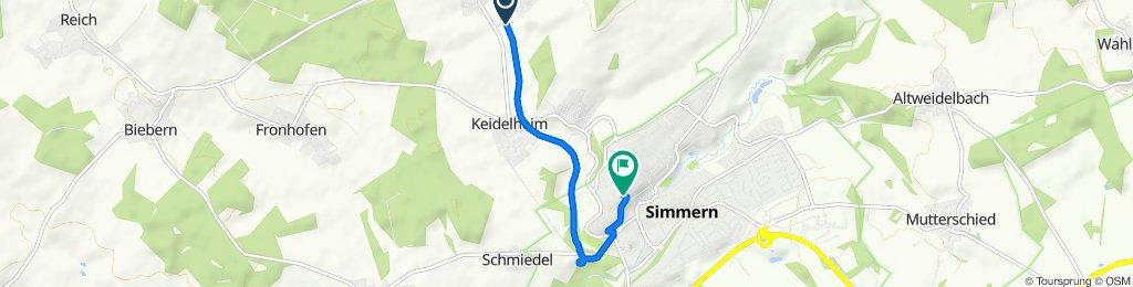 Schinderhannes-Radweg, Külz (Hunsrück) nach Karl-Wagner-Straße 2, Simmern/Hunsrück