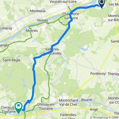 De Route de Valaire 2B, Candé-sur-Beuvron à Unnamed Road, Chenonceaux