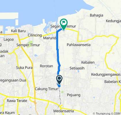 Boulevard Harapan Indah 2 36, Kecamatan Tarumajaya to Gang Yayasan 40, Kecamatan Tarumajaya