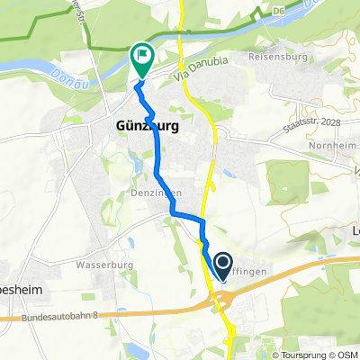 Hauptstraße 2, Günzburg nach Bahnhofplatz 16, Günzburg