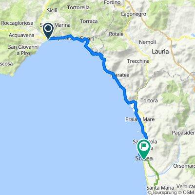 Via Tirrenia 11, Policastro Bussentino nach Via Nazario Sauro 2, Scalea