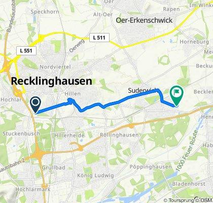 Friedrich-Ebert-Straße 21, Recklinghausen nach Langobardenstraße 26, Recklinghausen