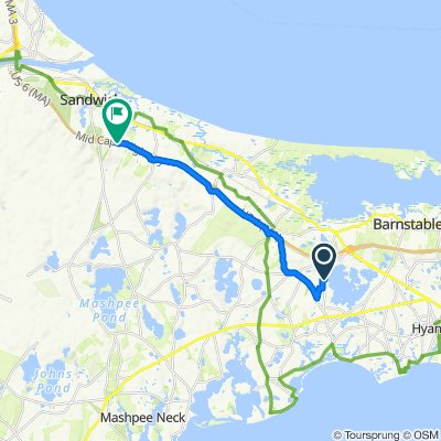 51 Tern Ln, Barnstable to 418–420 Service Rd, Sandwich