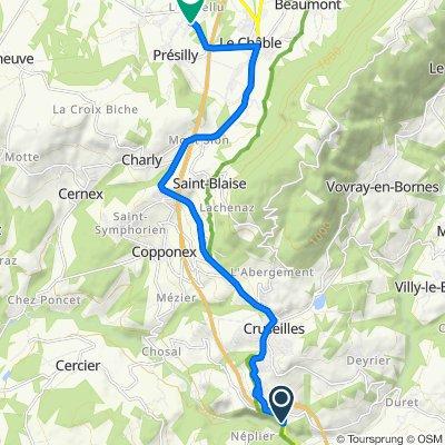 De 140 Passerelle du Pont de la Caille, Cruseilles à 20 Chemin de Clairjoie, Présilly
