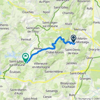 De Chemin du Moulin Brochat 14, Saint-Jean-de-Vaux à Le Charmenat, Morey