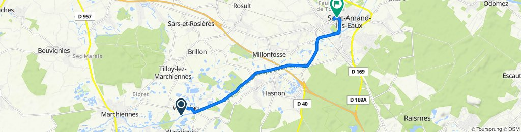 De Rue du Marais 380, Warlaing à Grand'place 69, Saint-Amand-les-Eaux