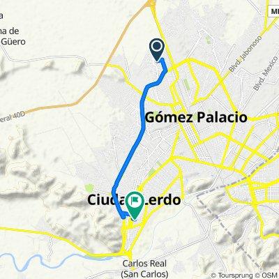 De Calle de la Encantada 300, Gómez Palacio a Calle Lucio Blanco 223–225, Ciudad Lerdo