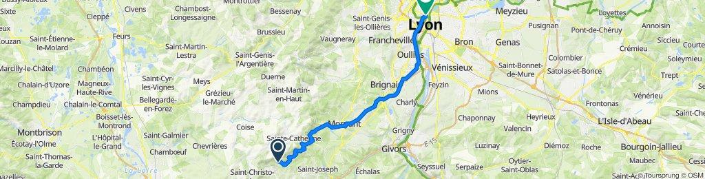 De 1646 Chemin de l'Oiseau, Saint-Romain-en-Jarez à 29 Rue Imbert Colomès, Lyon