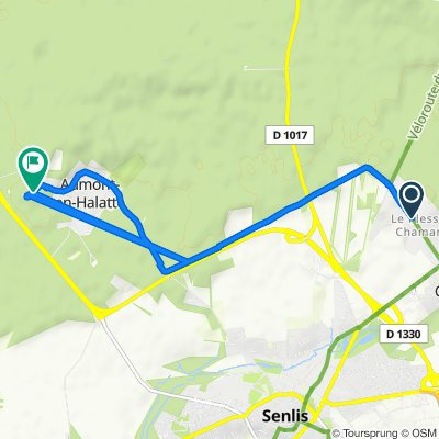 De Avenue du Mal Foch 30, Chamant à Route d'Apremont 5, Aumont-en-Halatte