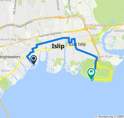 Route to 1 Heckscher Parkway Field, East Islip