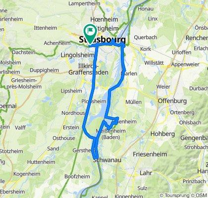 Route von 9 Rue de l'Auberge de Jeunesse, Straßburg