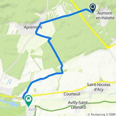 De Route d'Apremont 8, Aumont-en-Halatte à Gr Grande Rue 6, Avilly-Saint-Léonard