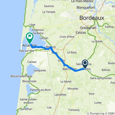 De 2 Route de Mont-de-Marsan, Hostens à 6 Place Lucien de Gracia, Arcachon
