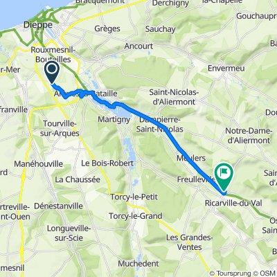 De 56bis Rue du Frêne, Rouxmesnil-Bouteilles à 156 Rue de l'Église, Saint-Vaast-d'Equiqueville
