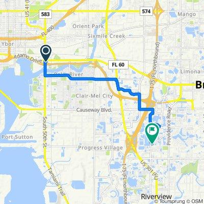 5149 E Adamo Dr, Tampa to 2015 Wrangler Dr, Brandon