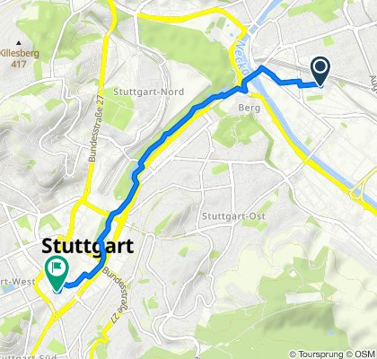 Bellingweg 11, Stuttgart nach Tübinger Straße 12-16, Stuttgart