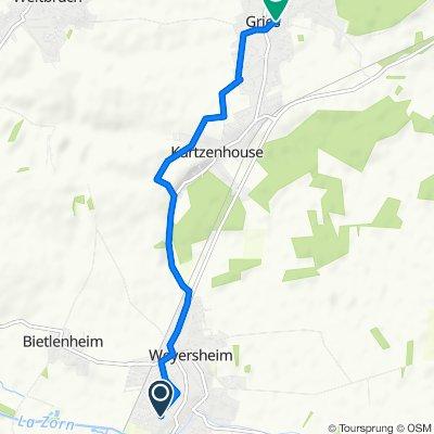 De 23 Rue des Cigognes, Weyersheim à 4A Rue de Bischwiller, Gries