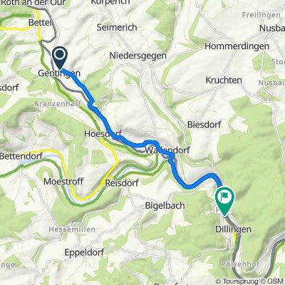 Ourtalstraße 6, Gentingen nach Route de Reisdorf 9, Befort