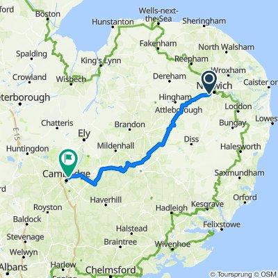 72 Mile Norwich to Cambridge City Centre Premier Inn