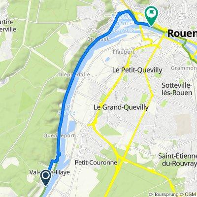 De 2 Chemin des Templiers, Val-de-la-Haye à Quai de Boisguilbert, Rouen