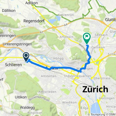 Wagistrasse 20, Schlieren nach Oberwiesenstrasse 70, Zürich