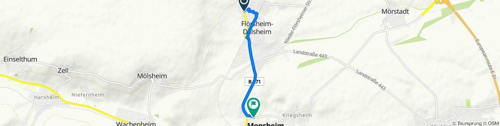 Alzeyer Straße 137A, Flörsheim-Dalsheim nach An den Mühlen 10, Monsheim