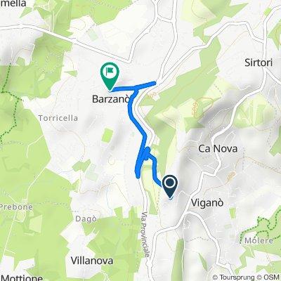 Da Via Giuseppe Mazzini 22, Viganò a Via Donatori di Sangue 13–15, Barzanò