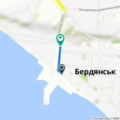 От Горького улица, 1, Бердянск до Западный проспект, 9, Бердянск