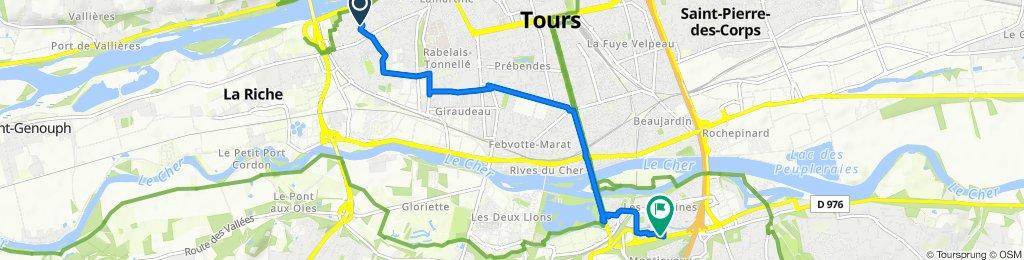 De Rue François Mitterrand 5, La Riche à Route de Saint-Avertin 36-42, Tours