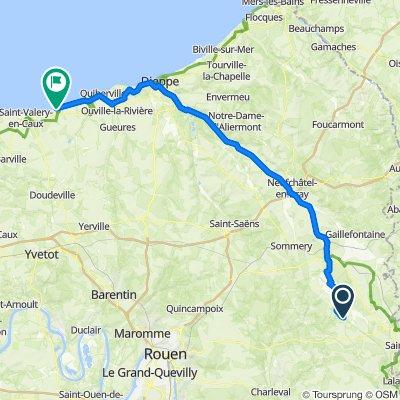 De Route du Mont Coquerel, Beauvoir-en-Lyons à 35 Rue Victor Hugo, Veules-les-Roses